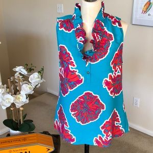 SOUTHERN FROCK ruffle neck sleeveless Perry top
